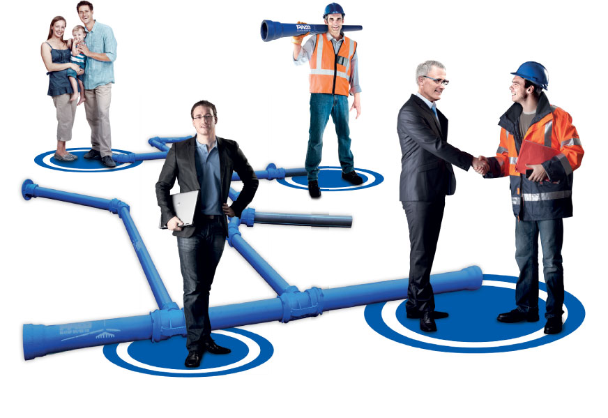 plastico y fundicion - redes plasticas - tibo plastico - union en tubos plasticos