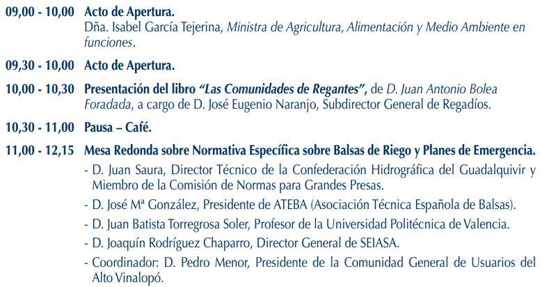 """Programa XVII Jornada Técnica FENACORE """"El regadío y la necesidad de una normativa sobre balsas de riego"""""""