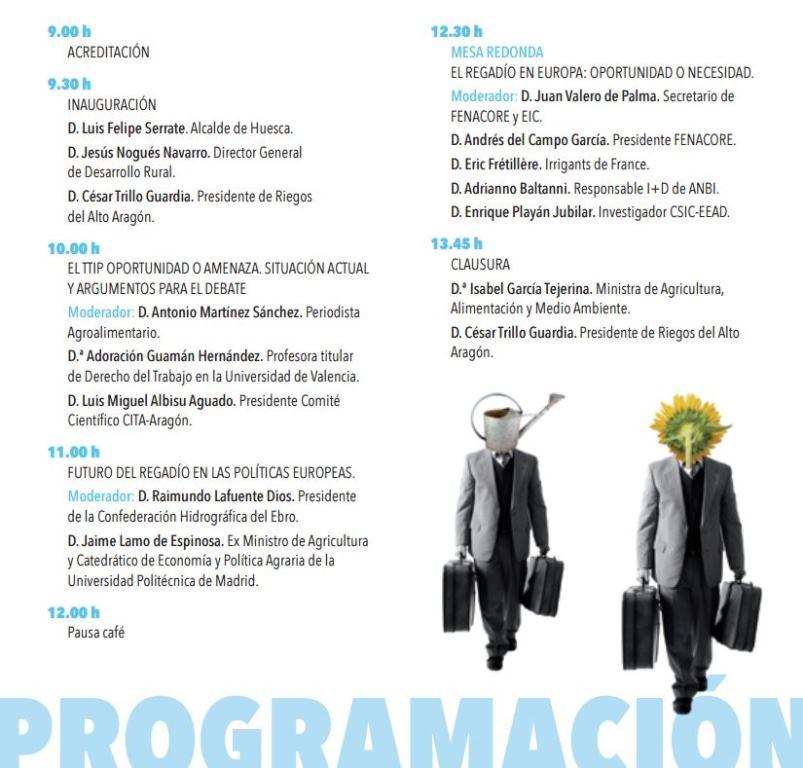 Programa 18ª Jornada Informativa ¿Hacia dónde va Europa? Políticas europeas y regadío, líneas de futuro